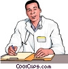 Vector Clipart illustration  of a doctor relaying information
