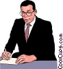 business man making notes Vector Clip Art picture