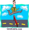 Vector Clip Art graphic  of a business man jumping hurdles