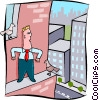 business man on ledge of building Vector Clipart graphic
