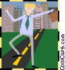 Vector Clipart illustration  of a business man leaving city