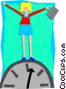 Vector Clipart illustration  of a business woman on clock