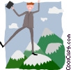 Vector Clipart picture  of a business man on mountain peak