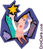 Vector Clipart picture  of a business man reaching for star