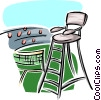 Referee chair on tennis court Vector Clip Art picture