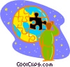 Vector Clip Art image  of a puzzle piece missing out of world