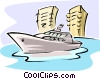 Vector Clip Art graphic  of a yacht