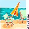 Lawn chairs on beach with umbrella Vector Clipart picture