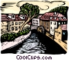 woodcut European cityscape Vector Clip Art graphic