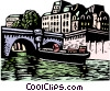 Vector Clipart image  of a woodcut European cityscape