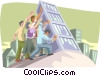 working together Vector Clipart illustration