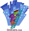 business / climbing the corporate ladder Vector Clipart graphic
