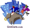 Vector Clipart image  of a riding the bull market