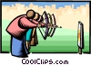 Vector Clipart illustration  of a shooting for the same target
