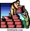 Vector Clip Art image  of a building blocks of success