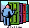 knocking on doors Vector Clipart illustration