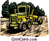 Vector Clip Art image  of a Woodcut grader tractor
