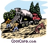 Vector Clipart graphic  of a woodcut cement truck
