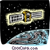 Satellite in orbit Vector Clip Art graphic