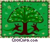Vector Clipart image  of a people dancing around tree