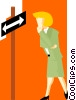 Vector Clipart image  of a business woman choosing a