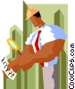 Vector Clipart graphic  of a business man examining form