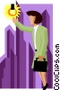 business woman reaching for brass ring Vector Clipart image