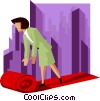 business woman rolling out red carpet Vector Clip Art picture
