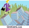 Vector Clip Art graphic  of a business woman leaping over