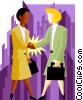Vector Clip Art graphic  of a business women shaking hands