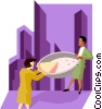 business women with the last piece of pie Vector Clip Art picture