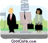 business people at bus stop with robot Vector Clip Art image