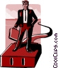 Vector Clip Art image  of a business man on plug