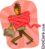 business man wrapped in red tape Vector Clipart picture
