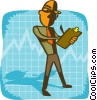 Vector Clipart image  of a business man on graph with