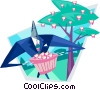 Vector Clipart image  of a man gathering computer disks from trees