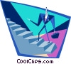 Vector Clip Art image  of a business man climbing stairs