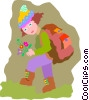 Vector Clipart graphic  of a hiker with flowers