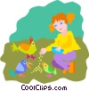 girl feeding birds Vector Clipart illustration