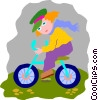 Vector Clip Art graphic  of a girl riding bike