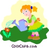 Vector Clip Art graphic  of a girl watering flower
