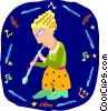 Vector Clip Art image  of a girl playing flute