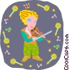 Vector Clipart picture  of a girl playing violin