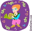 Vector Clipart graphic  of a girl playing French horn