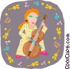 Vector Clipart graphic  of a girl playing bass