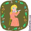 girl playing flute Vector Clip Art picture