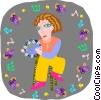 Vector Clipart picture  of a girl playing tambourine