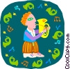 Vector Clip Art graphic  of a boy playing tuba
