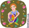 girl playing drum Vector Clip Art graphic