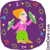 Vector Clipart picture  of a girl playing cymbal